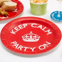Keep Calm and Party On - Isot pahvilautaset punainen, 8 kpl