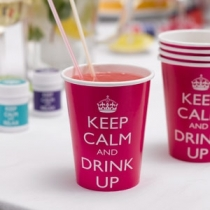 Keep Calm and Party On - Pahvimukit pinkki, 8 kpl